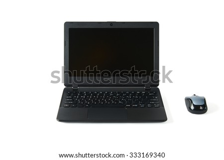 black laptop computer with a wireless mous, isolated on white - stock photo
