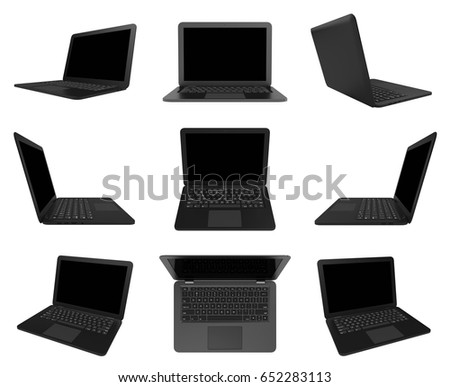Black Laptop Computer with Blank Black Screen Isolated on White Background 3D Illustration, Multiple View Series