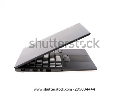 Black laptop isolate on over white background
