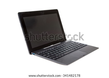 Black laptop isolated on white background