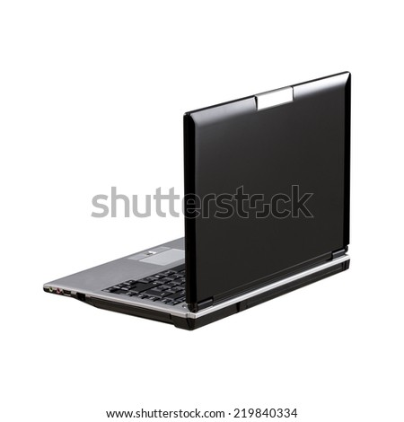 Black Laptop isolated on white background with copy space. Back view. Rotated angle - stock photo