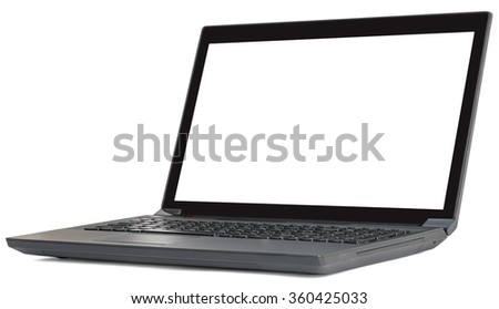 Black laptop on white
