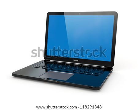 Black laptop on white background. Three-dimensional image. - stock photo