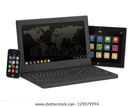 Black Laptop, Smart Phone and Tablet PC isolated on white background - stock photo