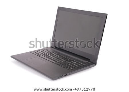 Black laptop white background with soft shadow. Clipping path