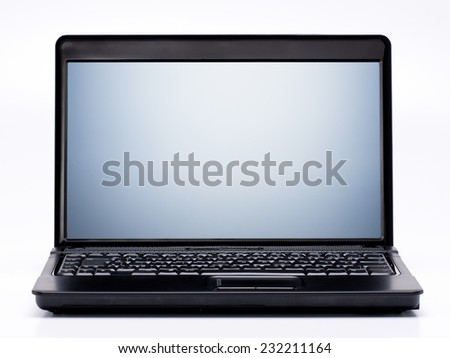 Black Laptop with Blank Screen isolated on White Background. - stock photo