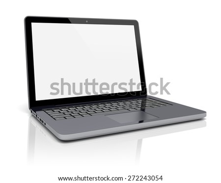 Black laptop with blank screen on a white background. 3d image