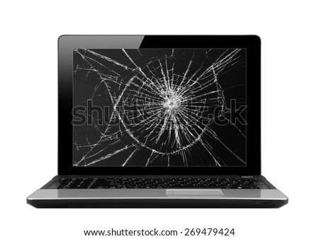Black laptop with broken screen isolated on white background - stock photo