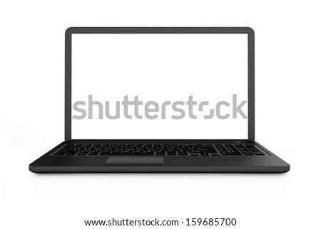 Black laptop with white screen - stock photo