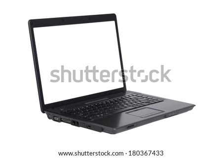 Black laptop with white screen on white background