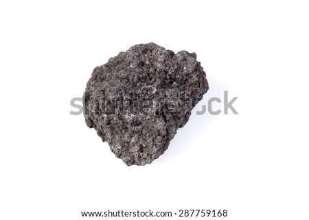 Black lava rock from volcano on a white background