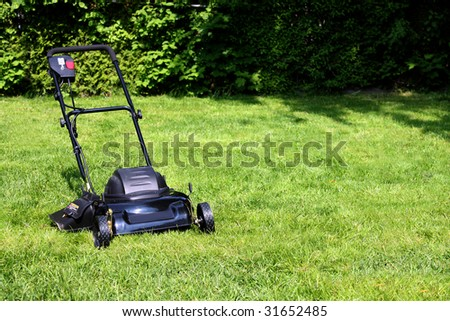Black lawnmower on freshly cut backyard grass