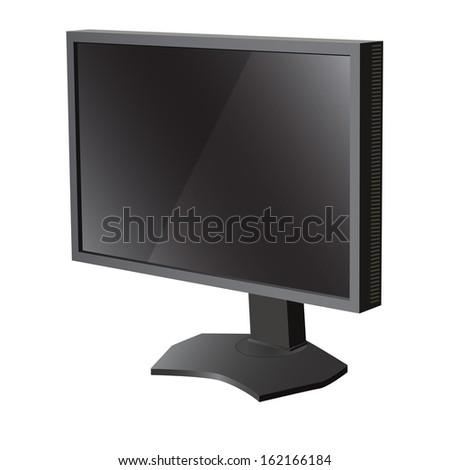 Black lcd tv  monitor on white background.  illustration  - stock photo