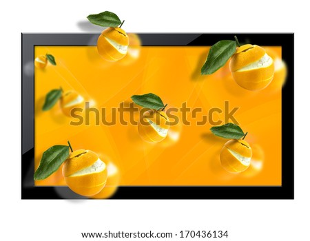 Black LCD tv screen with  three dimentional view.  (with clipping work path) - stock photo