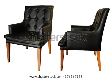 Black leather armchair isolated, clipping path. - stock photo