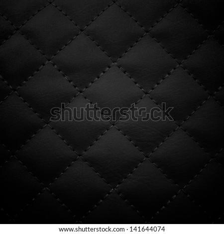 Black leather background,Black leather  texture. - stock photo