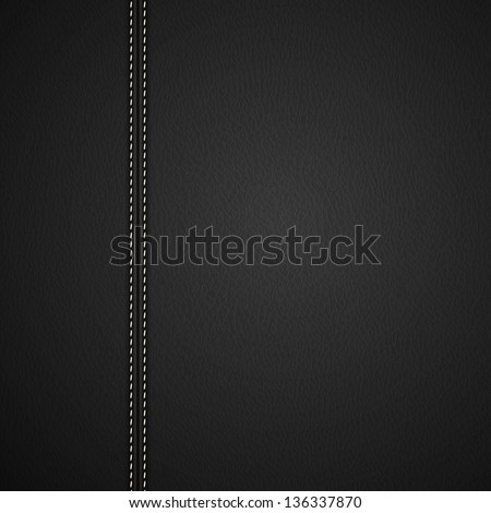 Black Leather background with white stitches - raster version - stock photo