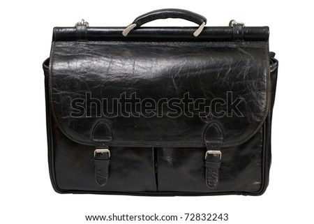 Black leather bag corporate  isolated on a white background
