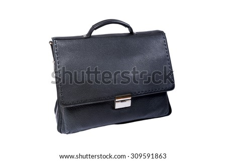 black leather bag for books on a white background