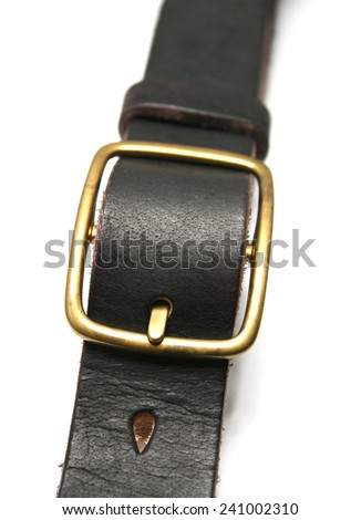 Black leather belt isolated on white - stock photo