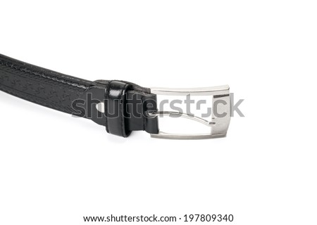 black leather belt isolated on white background with path