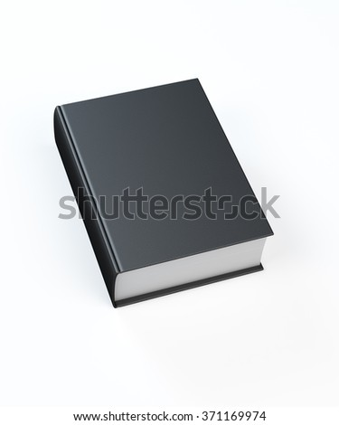Black leather book sitting on a white background.  Isolated on white background with clipping path.
