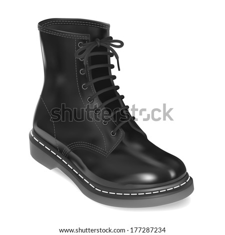 Black leather boot. Illustration - stock photo