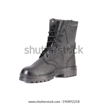 Black leather boot. Isolated on a white background.