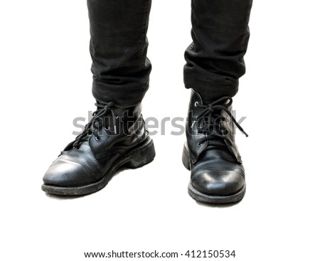 black leather boots on white - stock photo