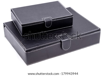 black leather boxes isolated on white background