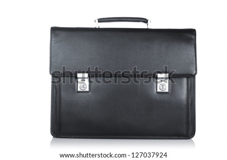 Black leather briefcase isolated on the white - stock photo