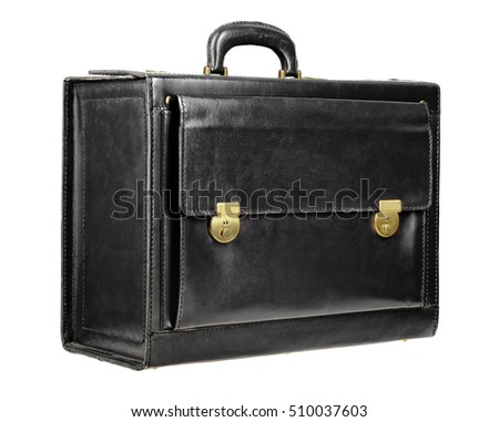 Black leather briefcase isolated on the white background