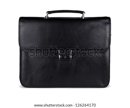 Black leather briefcase on a white background
