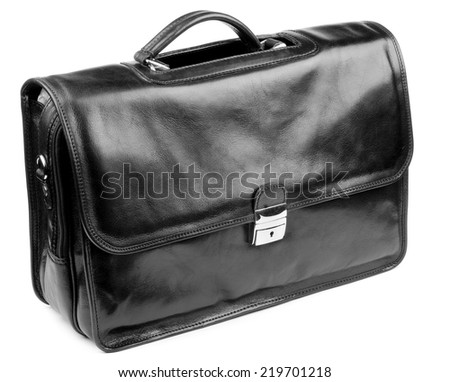 Black Leather Briefcase with Silver Details isolated on white background