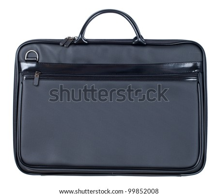 Black leather business case isolated on white - stock photo