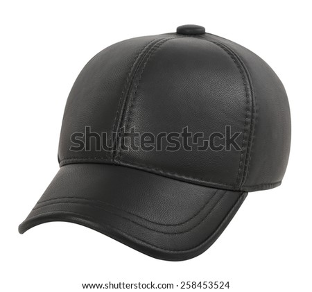 Black leather cap on a white background - stock photo