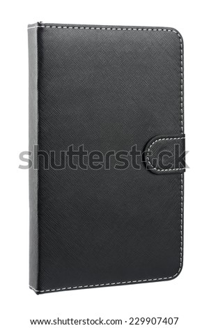 Black leather case for tablet isolated on white background