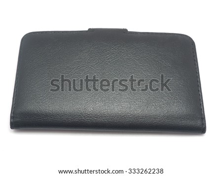Black Leather Case for the mobile phone on a white background