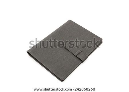 Black leather case on white background. - stock photo