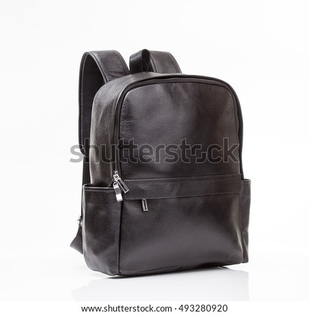 Black leather  casual backpack  isolated on white background
