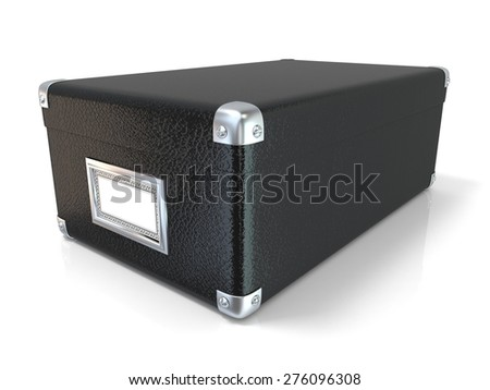 Black leather closed box, with chrome corners and blank label. Side view. 3D render illustration isolated on white background - stock photo