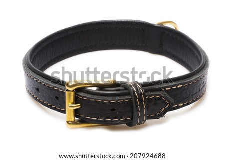 black leather collar rivets isolated over white background - stock photo