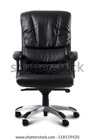 black leather computer chair - stock photo