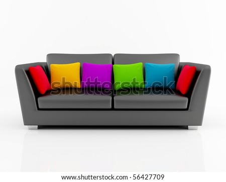 black leather couch with colored cushion - rendering - stock photo