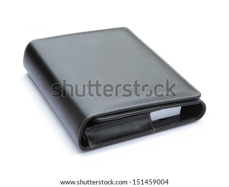 Black leather cover notebook isolated on white background - stock photo