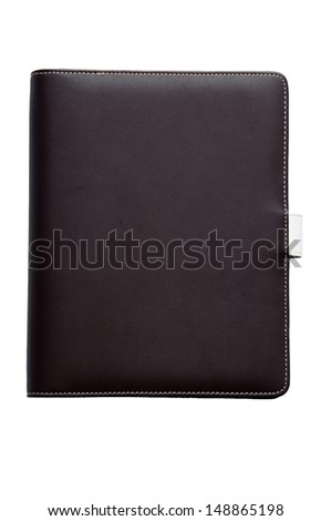 Black leather cover of binder notebook isolate  - stock photo