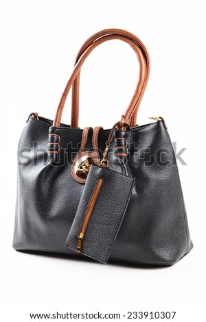 Black leather female handbag. isolated on white