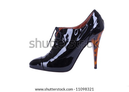 black leather female high heels shoes