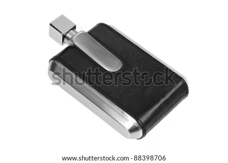 black leather flask for alcohol isolated on white