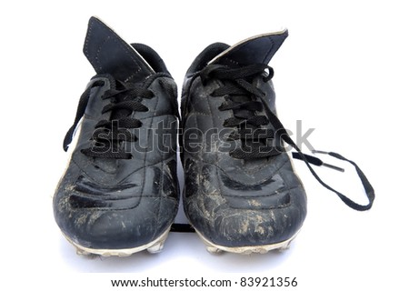 Black leather football soccer boots isolated on white background - stock photo